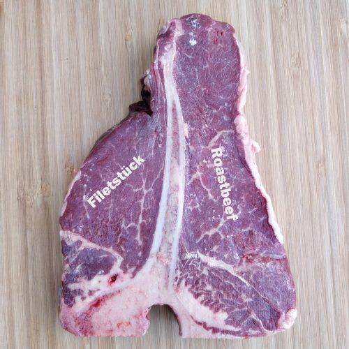 T-Bone Steak Filetstück und Roastbeef